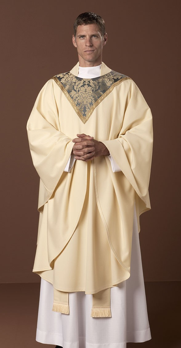 The Holy Rood Guild > Chasubles & Copes > Cloisters Chasuble: cream  liturgical vestment for priest or deacon